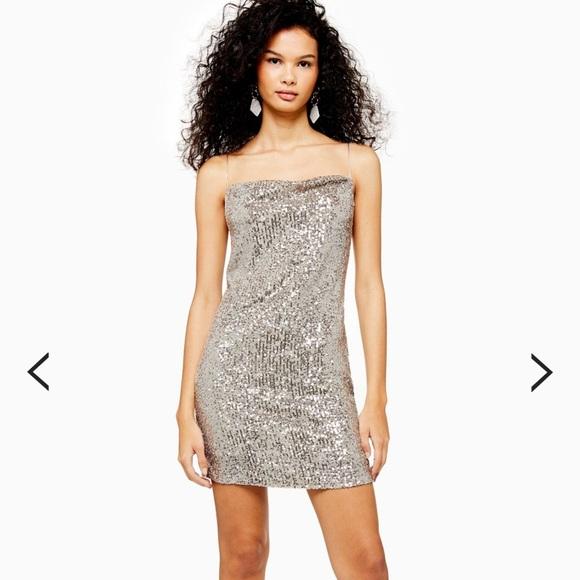 Topshop Dresses & Skirts - Topshop Sequined Cowl Mini Dress